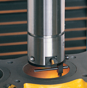 Boring column shown with tool holder and centring stylus in place
