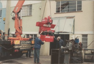 Company history - Moving to Unit 15 in 1990 - Crane lifting Serdi 100